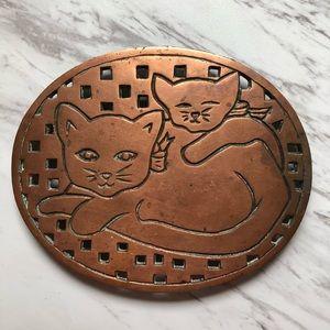Vintage Cat & Kitten Copper Trivet